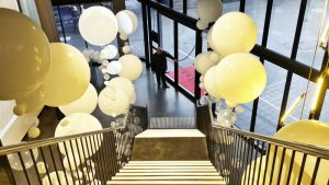 Entrance Decor Aerial South Wharf Melbourne | Organic Bubble Strand Balloons