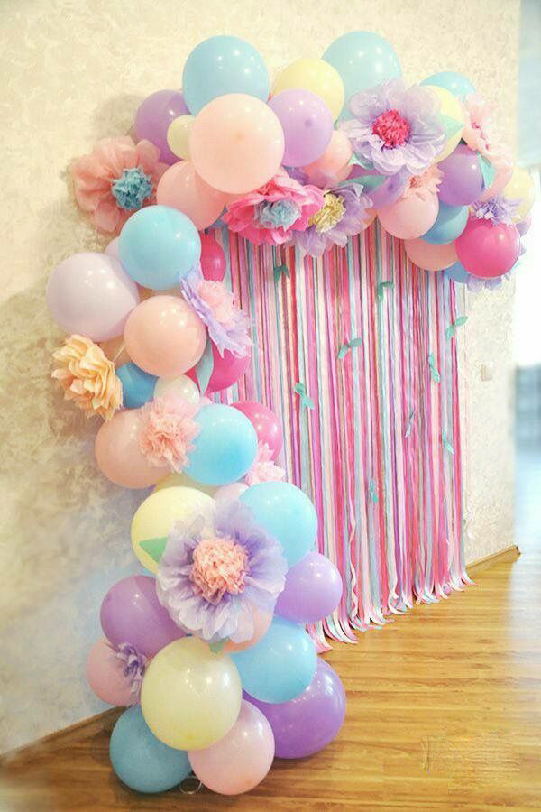Organic Demi arch with paper embellishments for pastel theme