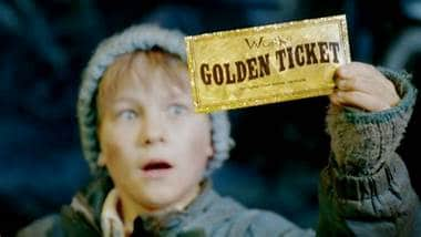 Golden tickey for Charlie and the Chocolate Factory